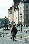 Sweden, Stockholm, man walking dogs on cobblestone steps