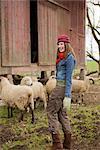 Teenage Girl With a Flock of Sheep on a Farm in Hillsboro, Oregon, USA