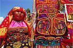 Cuna indian woman displays her molas (traditional garments), San Blas Islands, Panama, Central America