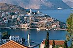 Vue aérienne de Yalos, Symi (Simi), îles du Dodécanèse, îles grecques, Grèce, Europe