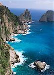 Faraglioni and coast, island of Capri, Campania, Italy, Mediterranean, Europe