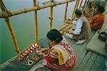 Akash Deep Puja, sky lantern festival on the Ganges (Ganga) River bank, Varanasi (Benares) Uttar Pradesh State, India