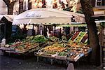 Boutique de fruits et de légumes dans la Piazza Mercato, Frascati, Latium, Italie, Europe