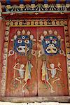 Peintures tantriques sur portes à Tongren monastère, Qinghai, Chine, Asie