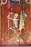 Peinture tantrique sur portes à Tongren monastère, Qinghai, Chine, Asie