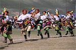 Danse tibétaine, Festival équestre de Yushu, Province de Qinghai, Chine, Asie