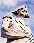 Nahaufnahme der Statue von Admiral Nelson, Nelsonsäule, Trafalgar Square, London, England, Großbritannien, Europa