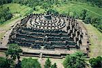 Aerial view over Borobudur, UNESCO World Heritage Site, Java, Indonesia, Asia