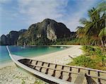 Bateau sur la plage, l'île de Ko Pi Pi (Koh Phi Phi), Thaïlande