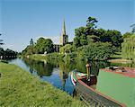 River Avon and Holy Trinity church, Stratford-upon-Avon, Warwickshire, England, United Kingdom, Europe