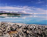 Mount Cook (Aoraki) vus à travers le lac Pukaki, Mackenzie Country, South Canterbury, Canterbury, île du Sud, Nouvelle-Zélande, Pacifique