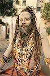 Portrait of a Hindu holy man (saddhu), Varanasi (Benares), Uttar Pradesh state, India, Asia