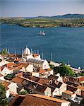 Elevated view of the Old Town and cathedral of St. Jacob, Sibenik, Knin Region, Dalmatia, Dalmatian coast, Croatia, Europe