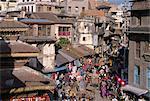 Busy city street scene, Kathmandu, Nepal, Asia