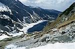 Lac Czarny Staw (1620m), près de Zakopane, Parc National des Tatras, Pologne, Europe