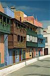 Painted houses with overhanging wooden balconies in Santa Cruz de la Palma, on La Palma, Canary Islands, Spain, Europe