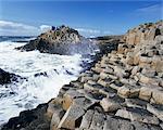 Chaussée des géants sur la côte de Causeway, 37 000 colonnes de basalte hexagonal, patrimoine mondial de l'UNESCO, comté d'Antrim, Ulster, Irlande du Nord, Royaume-Uni, Europe