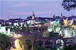 Toits de la ville au crépuscule, la ville de Luxembourg, Luxembourg, Europe