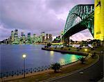 City skyline and the Sydney Harbour Bridge at dusk, Sydney, New South Wales, Australia