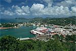 Vue aérienne sur le port de Castries, Sainte-Lucie, îles sous-le-vent, Antilles, Caraïbes, Amérique centrale