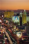 Vue élevé des hôtels et casinos, Las Vegas, Nevada, États-Unis d'Amérique, Amérique du Nord