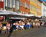 Waterfront cafes, Nyhavn, Copenhagen, Denmark, Europe