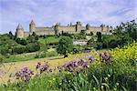 Vue sur la ville fortifiée, Carcassonne, patrimoine mondial de l'UNESCO, Languedoc, France, Europe