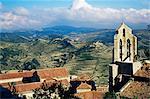 Basilica Santa Maria from the castle, Morella, Valencia region, Spain, Europe