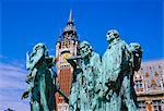 Les bourgeois de Calais, statue de Rodin, en face de l'hôtel de ville, Calais, Pas-de-Calais, Picardie (Picardie), France, Europe