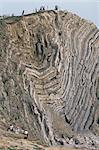 Pliée de calcaire et de schiste, de Jurassique, trou d'escalier, Lulworth, Dorset, Angleterre, Royaume-Uni, Europe