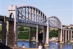 Saltash Eisenbahn Brücke über den Fluss Tamar, gebaut von Brunel, Cornwall, England, Vereinigtes Königreich, Europa