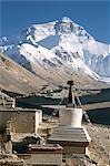Côté nord du Mont Everest (Chomolungma), de Rongbuk monastère, Himalaya, Tibet, Chine, Asie