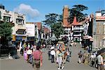 The Mall ridge road at Scandal Point, Shimla (Simla), town grown from Raj hill station, Himachal Pradesh, India, Asia