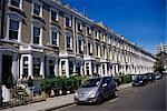 Terraced housing in street in Chelsea, SW3, London, England, United Kingdom, Europe