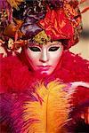Portrait de tête et les épaules d'une personne habillée en carnaval masque et costume, carnaval de Venise, Venise, Vénétie, Italie, Europe