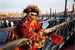 Portrait of a person dressed in carnival mask and costume, Venice Carnival, Venice, Veneto, Italy, Europe
