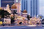 Sultan Abdul Samad construction, Kuala Lumpur Law Court, éclairée la nuit, Kuala Lumpur, en Malaisie, l'Asie du sud-est, Asie