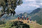 Tourists trekking, Simien Mountains National Park, UNESCO World Heritage Site, Ethiopia, Africa