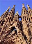 Cathédrale de la Sagrada Familia de Gaudi, détail de visage de East, Barcelone, Catalogne, Espagne