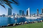 Yacht en face de skyline front de mer, vue sur le port de Embarcadero Marina Park, San Diego, Californie, États-Unis d'Amérique (États-Unis d'Amérique), Amérique du Nord