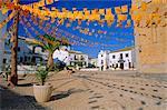 Town square with streamers in regional colours, Altea, Alicante, Valencia, Spain, Europe