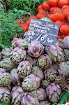 Artichauts à la vente sur le marché dans la Rue Sainte Claire, Annecy, Haute-Savoie, Rhône-Alpes, France, Europe