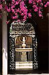 Vue à travers la porte en fer forgé pour le Patio Principal et bougainvilliers, Casa de Pilatos, Séville, Andalousie (Andalousie), Espagne, Europe