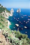 View over southern coast to the Faraglioni Rocks, island of Capri, Campania, Italy, Mediterranean, Europe