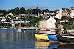 Voir toute l'eau de Noss Mayo pour le village de Newton Ferrers, près de Plymouth, Devon, Angleterre, Royaume-Uni, Europe