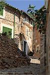 Village street, Fornalutx, near Soller, Majorca (Mallorca), Balearic Islands, Spain, Europe