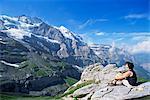 Vue de Kleine Scheidegg à Jungfrau, Oberland bernois, en Suisse, Europe