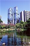The Lippo Towers from Hong Kong Park, Central, Hong Kong Island, Hong Kong, China, Asia