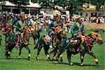 Bajau horsemen at the annual festival of horsemanship in Kota Belud in November, in Sabah, Malaysia, Borneo, Southeast Asia, Asia