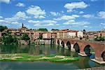 Le fleuve et le pont avec la ville d'Albi, dans le fond, la région du Tarn dans le Midi Pyrénées, France, Europe